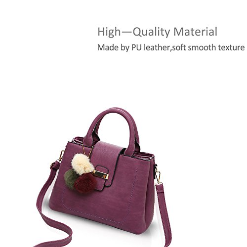 Tote Shoulder Small amp;DORIS Women Top Leather Purse Handle Purple Handbag Simple Black NICOLE Satchel Messenger PU UpwHRH