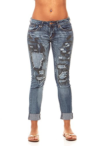 V.I.P. JEANS Women's Fray Hem Skinny Distressed Ripped Juniors Plus, Classic Blue, 5 (Fray Denim Jeans)