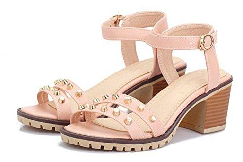 Aisun Donna Hot Studded Open Toe Fibbia Gattino Tacchi Sandali Scarpe Con Cinturini Alla Caviglia Rosa