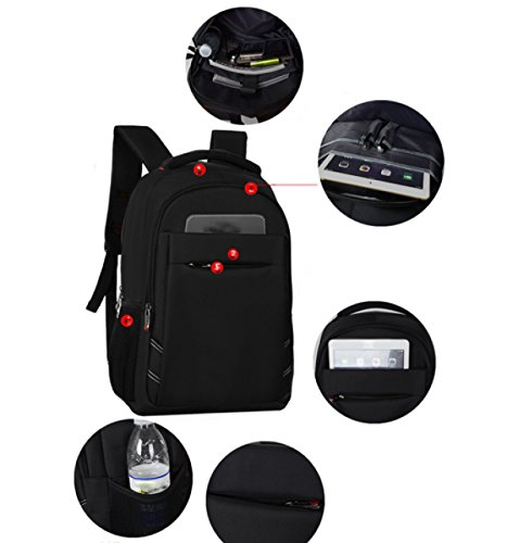 Shoulder Black Bag Men's Backpack Travel Leisure Multi Laidaye purpose Business ERzWq