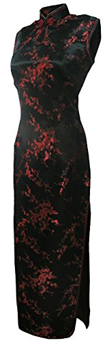 7Fairy Women's Bodycon Black/Red Keyhole Long Chinese Dress Cheongsam Size 8 US (Chinese Dress Dresses Chinese)