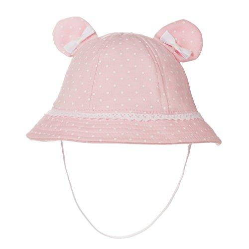 Eriso Baby Girls Toddler Bear Bucket Hat Sun Protection (0-3 Months, Pink)