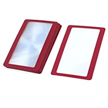 10Pcs Red Frame Credit Card Reading Magnifier 3x Magnifying Loupe Lens
