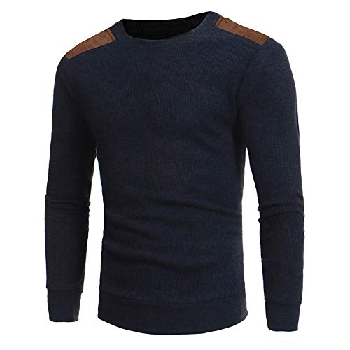 Sunhusing Men's Casual Round Neck Knit Sweater Top Fashion Autumn Patchwork Knitwear Pullover Shirt ()