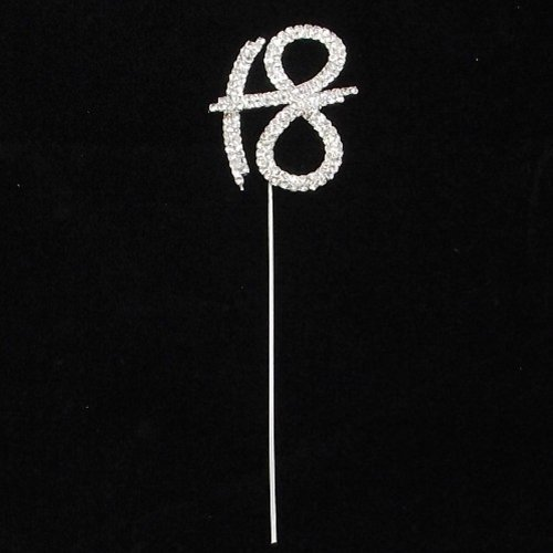 18 Number Cake Topper Clear Rhinestone Diamante Gem Pick ANNIVERSARY BIRTHDAY PARTY