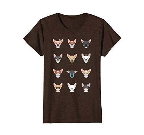 Brown Chihuahua - Womens Chihuahua Emoji T-Shirt Small Brown