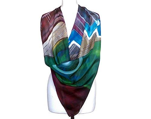 Women shawl silk - Pure silk scarf - Painted silk scarf - Burgundy scarf - Brown scarf - Purple spring scarf - Silk scarf for women by Burbule Silk