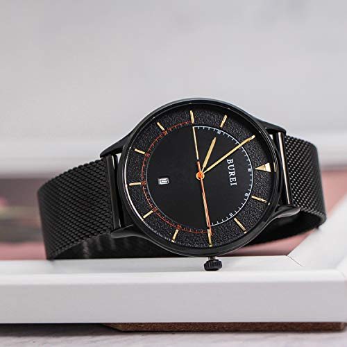 BUREI Unisex Thin Minimalist Wrist Watches with Analog Dial Calendar Mineral Crystal Leather Mesh Band