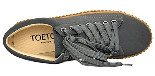 TOETOS Damen REINNA-01 Schnürschuhe mit Plateausohle Grau