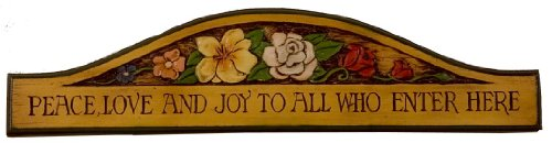 Welcome Plaque Peace Love Joy to All Who Enter - Plaque Here Wall