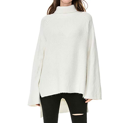 Women's Long Turtleneck Loose Flare Sleeve Cable Knit Sweater Tops Jumper (Small)