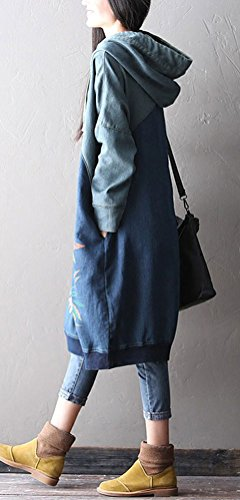 Modèle Épissé Haut Longues Occasionnels Femmes Soojun Sweat-shirt Robe Chandail À Capuchon Bleu