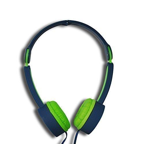 MAXROCK Folding Kidzsafe Over-head Headphones with Mic Adjustable Headbands 3.5mm Universial Jack (Deep (Adjustable Overhead Headphones)