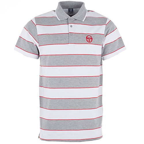 Sergio Tacchini Polo T Shirt Hetton grau marl weiß und rot Herren Top