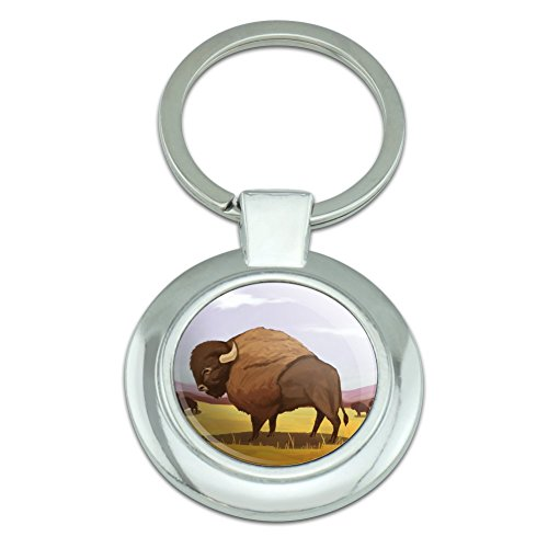- American Bison Buffalo Herd on the Plains Classy Round Chrome Plated Metal Keychain