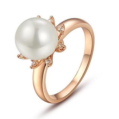 PSRINGS Vintage Big Faux Pearl 18k Rose Gold Plated Crystal Imitated Diamond Pearl Cluster Cocktail Rings 8.0
