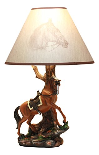 Ebros Light Fantastik Cowboy Chestnut Brown Horse Stallion With Saddle Table Lamp With Horse Printed Shade 19