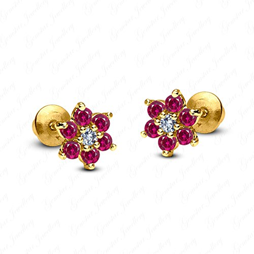 (Gemstar Jewellery 14K Yellow Gold Finish Round Cut Red Ruby Wedding Cluster Flower Stud Earrings)
