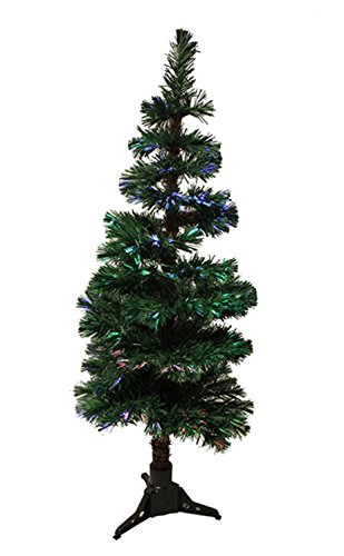 iber Optic Artificial Spiral Pine Christmas Tree with Multicolored Lights, 4' ()