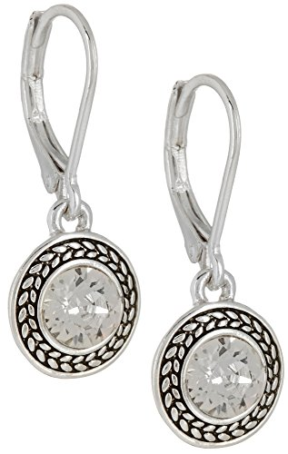 "Napier ""Color Declaration"" Silver-Tone Crystal Swarovski Stone Leverback Drop Earrings"