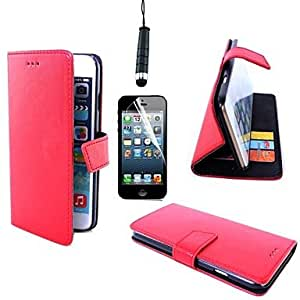 Mini - Oblique Buckle Sewing PU Leather Cover Card Slot with Touch Pen and Protective Film for iPhone 6 Plus, Color: Black