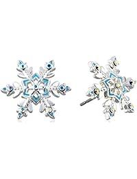 "Girls' ""Frozen"" Silver-Plated Crystal Snowflake Stud Earrings"