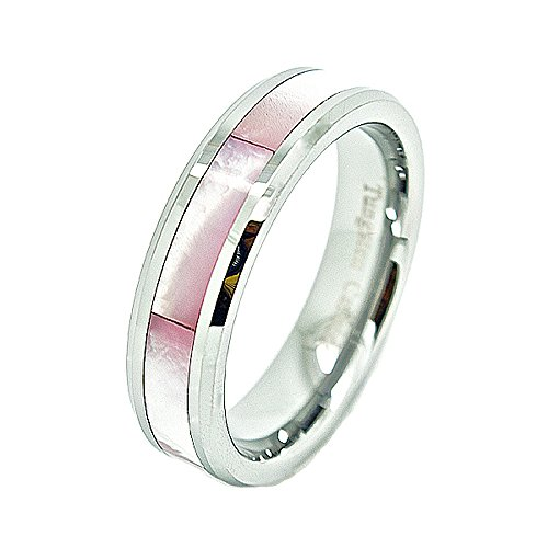 Unisex 6mm Tungsten Carbide Wedding Band with Pink Shell Inlay Size 13 (Ring Shell Inlay Pink)