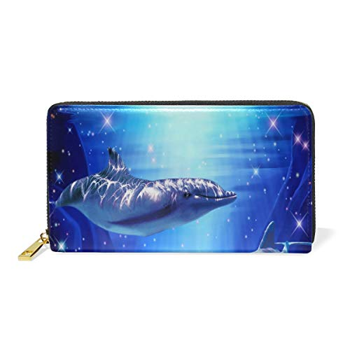 Magical Dolphin Couple Leather Large Long Zipper Clutch Women Wallet Phone Passport Checkbook Card Holder by THENAGD