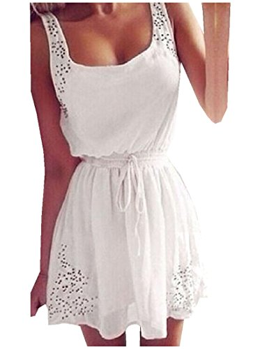 Waist Solid Dress White Lacing Comfy Accept Womens Sleeveless Mini qUnXR1E