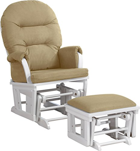 Shermag Contemporary Style Rocker and Ottoman Glider, White with Pearl Beige by Shermag (Image #1)