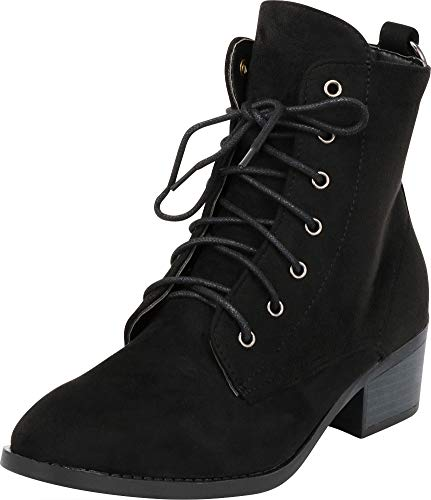 Cambridge Select Women's Round Toe Lace-Up O-Ring Chunky Stacked Heel Ankle Bootie (10 B(M) US, Black IMSU) ()