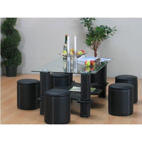 glastisch mit 6 hocker bestseller shop f r m bel und. Black Bedroom Furniture Sets. Home Design Ideas