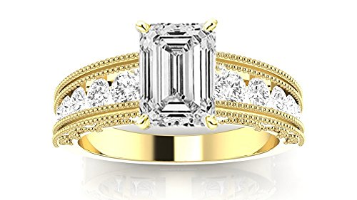 14K Yellow Gold 4 CTW Antique / Vintage Style Channel Set Round Diamond Engagement Ring with Milgrain w/ 3.4 Ct GIA Certified Emerald Cut I Color VS1 Clarity Center (3.4 Ct Round Diamond)
