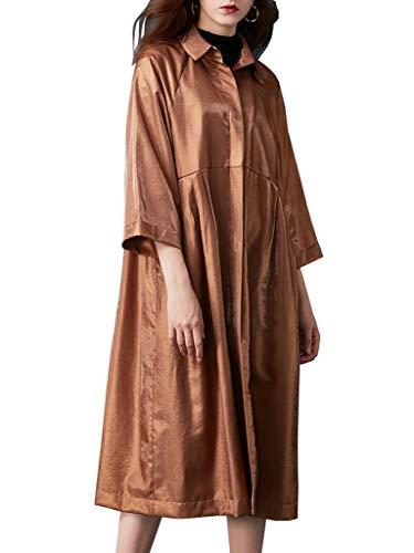 Longues Plissé Parka Uni Chemise Aux Manteau Kaki Ru Casual Xiang Manches Femme a8Owx