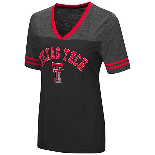 - Colosseum Women's NCAA Varsity Jersey V-Neck T-Shirt-Texas Tech Red Raiders-Black-Small