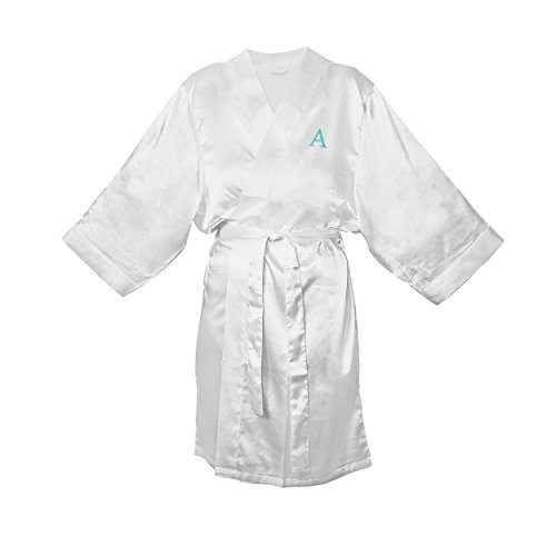 Cathy's Concepts Personalized White Satin Robe, L/XL, Let...