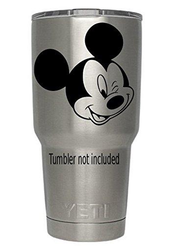 6d3460f88b1 Amazon.com: Mickey Mouse Winking Yeti Tumbler Decal Walt Disney Disney  World Decal Ozark Trail Tumber Black or White Decals 3.6