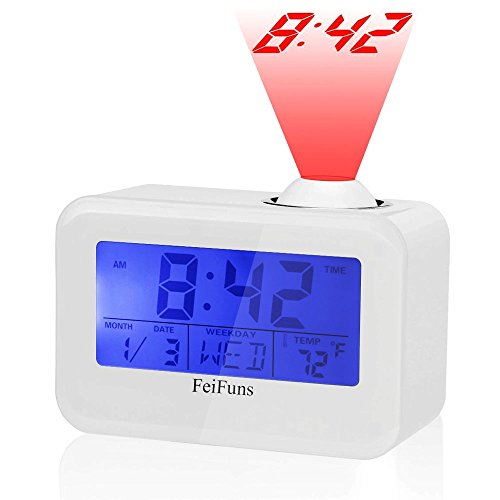 Alarm Clock, Projection Alarm Clock with Soft LED Night l...