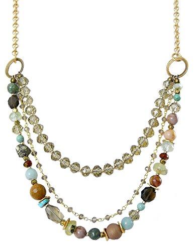 Daybreak Collection Gemstone and Czech Glass Multi-Strand Boho Necklace, Adjustable 32-34 (Multi Gemstone Beaded Necklace)