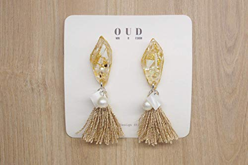 Tassel Shaped (Light Gold with Brown-White MOP Shell-Geometric Gemstone Shaped Metallic Tassel Dangle Earrings-Gold Foil Mix with MOP Shells-925 Sterling Silver Ear Post-Clip-on Available)