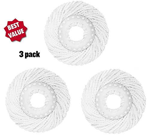 3 Replacement Mop Micro Head Refill Hurricane For 360 Degree Spin Magic Mop-Anti-Bbrasive Microfibers No Scratch-Round Shape Standard Size-3 Pack