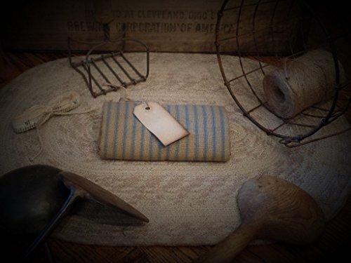 (Primitive Homespun Fabric ~Slate Blue & Mocha Ticking Stripe~)