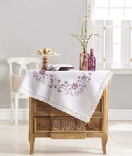 - Herrschners® Heirloom Table Topper with Lace Stamped Cross-Stitch Kit