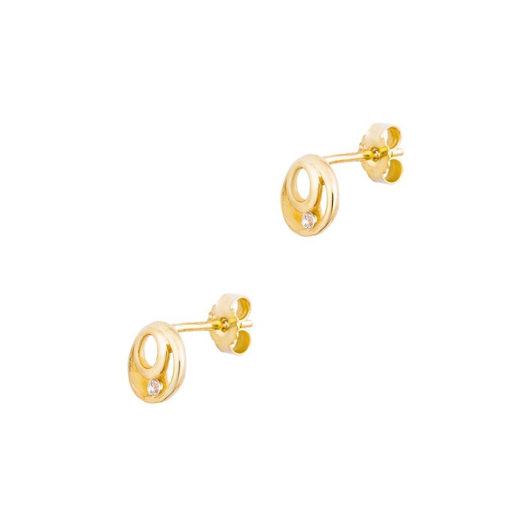 1 Paar Mädchen Frauen Ohrstecker Gelbgold Echt Gold 585 Zirkonia weiß 4,0 mm