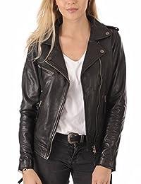 Excentoutwear Women's Lambskin Leather Bomber Biker Jacket