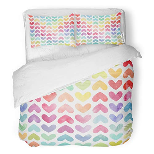 SanChic Duvet Cover Set Pink Colorful Watercolor Hearts Pattern Valentine Day Red Decorative Bedding Set with Pillow Sham Twin Size