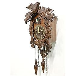 Rylai Vintage Wall Clock Handcrafted Wood Cuckoo Clock-N.DIM. 13x9.5 IN