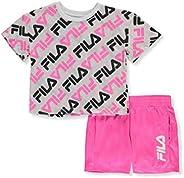 Fila Girls' Allover Logo Crop Top and Shorts 2-Piece Set Ou