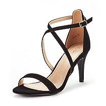 DREAM PAIRS Womens DOLCEFashion Stilettos Open Toe Pump Heeled Sandals