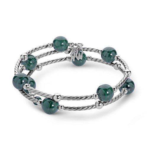American West Sterling Silver Green Malachite Gemstone Coil Wrap Bracelet